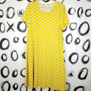 LuLaRoe Jessie Dress Pockets Yellow Polka Dots 2XL